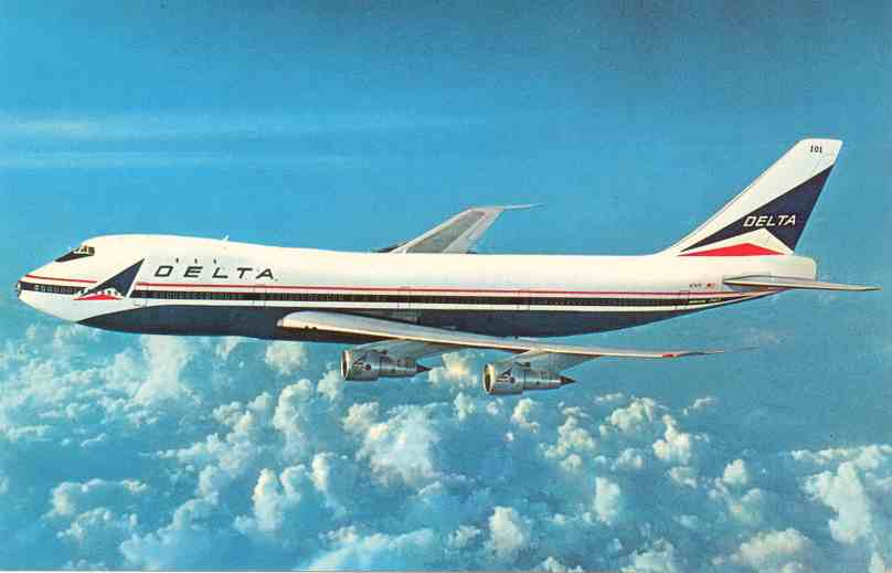 Postcard picture of a Delta Boeing 747