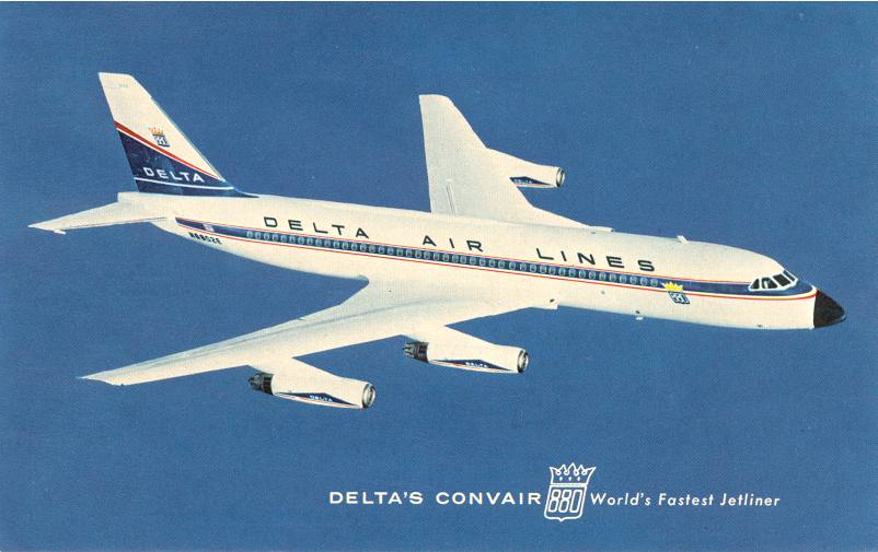 Postcard picture of a Delta CV-880