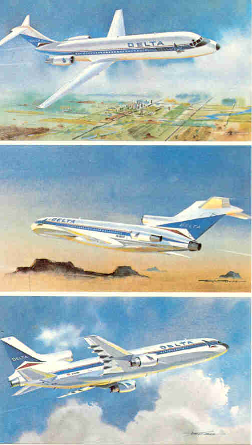 Postcard art of Delta DC-9-32, B-727-200, L-1011-1
