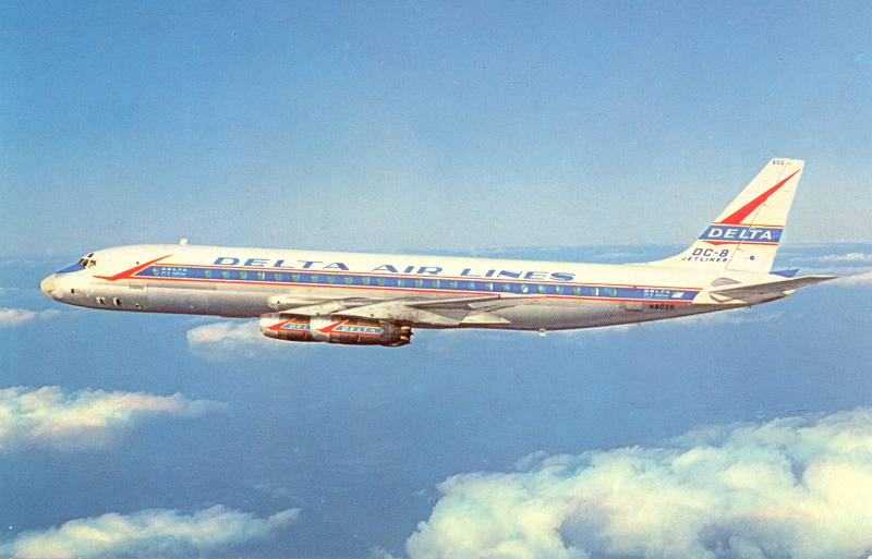 Postcard picture of an early Delta DC-8