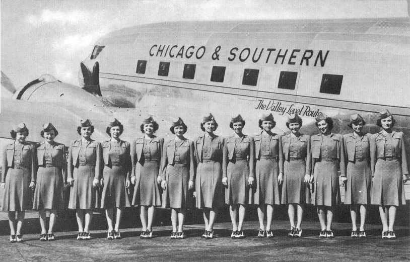 Postcard picture of C & S Stewardesses with DC-3