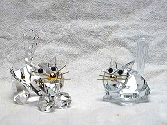 Two crystal glass cats by Preciosa, Czech Rrepublic