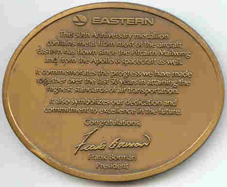Eastern Airline 50 year medallion, back