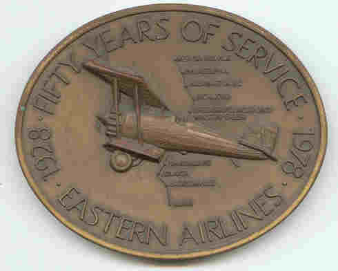 Eastern Airline 50 year medallion, front