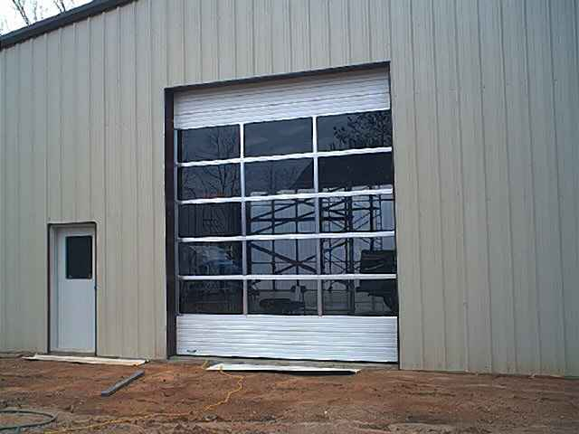 Exterior view of the sectional rollup door installed in the west wall.