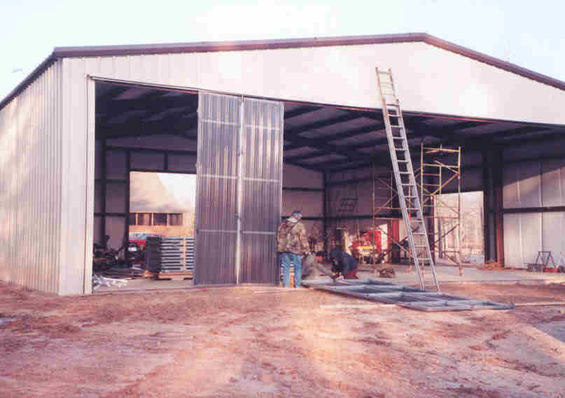 Hangar doors being installed